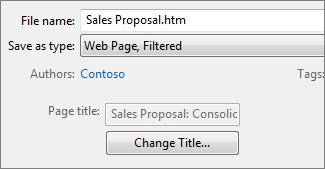 Kotak dialog Simpan Sebagai dengan Halaman Web, Ditapis dipilih