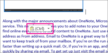 Ilustrasi bagi kandungan HTML ditampal dengan ikon tampal.