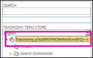 Petikan skrin pandangan pohon dalam alat pengurusan Gedung Istilah, menunjukkan nama taksonomi dan folder anak.