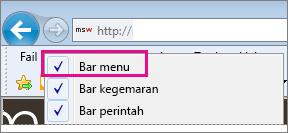 Menunjukkan bar menu dalam Internet Explorer