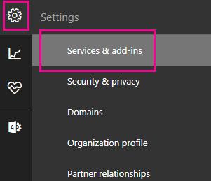 Dalam anak tetingkap navigasi, klik ikon seting dan kemudian klik Perkhidmatan & tambahan.