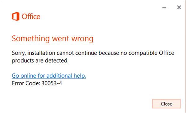 Mesej ralat 30053 Sesuatu masalah berlaku
