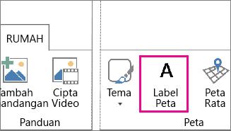 Butang Label Peta pada tab Rumah Power Map