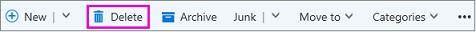 Memadamkan butang pada reben dalam Outlook