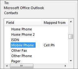 Cell ph dipetakan kepada medan Telefon Bimbit Outlook
