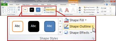 kumpulan gaya bentuk pada tab format.
