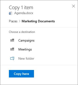 Petikan skrin memilih lokasi semasa menyalin fail ke SharePoint