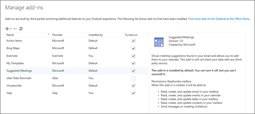 """Petikan skrin tetingkap """"Urus tambahan"""" yang anda boleh menambah atau mengalih keluar tambahan, lihat maklumat tambahan dan pergi ke gedung Office untuk mencari lebih banyak tambahan Outlook. Mesyuarat cadangan tambahan dipilih dan maklumat tentang ia ditunjukkan."""
