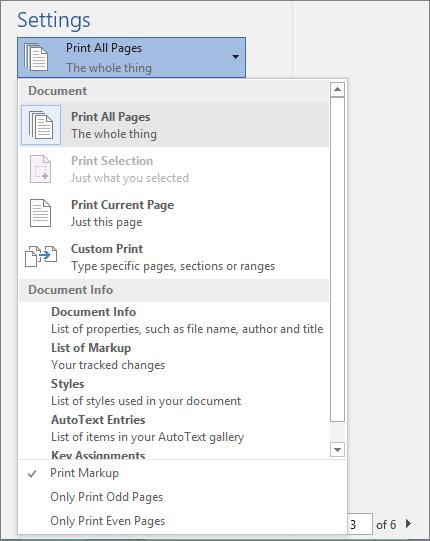Petikan skrin tetingkap cetak dengan menu cetak semua halaman dikembangkan untuk menunjukkan opsyen tambahan.
