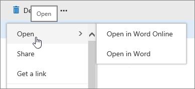 Menu elips fail dengan Buka diserlahkan