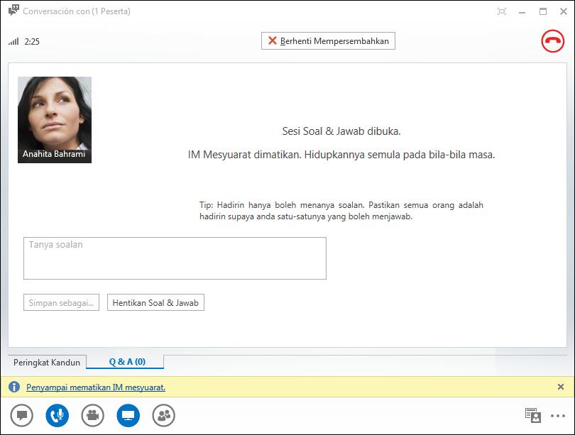 Petikan skrin tetingkap pengurus Soal dan Jawab