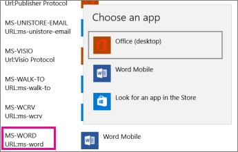Tukar ke Office (desktop) bagi protokol yang membuka templat dari web