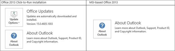 Grafik yang menunjukkan cara memberitahu jika memasang Office 2013 adalah click-to-run atau berasaskan MSI