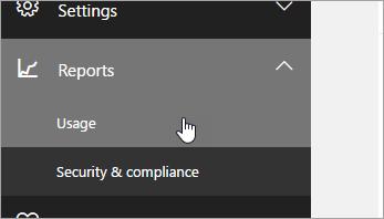Dalam Pusat Pentadbiran, klik laporan, kemudian penggunaan.