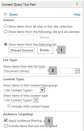 Senarai sifat bahagian Web pertanyaan kandungan dengan tiga petak bual