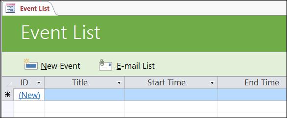 Borang senarai Peristiwa dalam templat pangkalan data Access