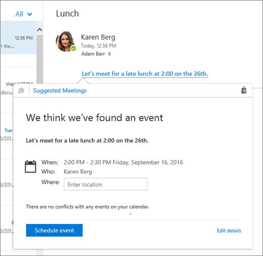 Petikan skrin mesej e-mel dengan teks tentang mesyuarat dan kad Mesyuarat cadangan dengan butiran mesyuarat dan opsyen untuk menjadualkan peristiwa dan mengedit butiran kerjanya.