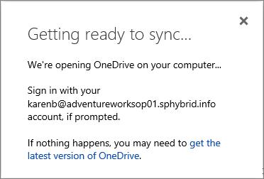 Petikan skrin Mari bersedia untuk kotak dialog penyegerakan apabila menyediakan OneDrive for Business untuk disegerakkan