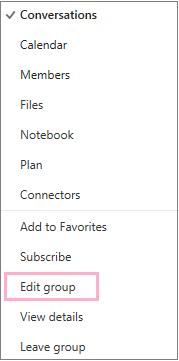 Konteks atau pintasan kumpulan kalendar, menu menyerlahkan opsyen Edit kumpulan. Menu muncul apabila butang Tindakan lain dipilih pada bar menu kumpulan individu.