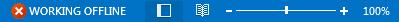 Penunjuk Bekerja Di Luar talian pada bar status Outlook