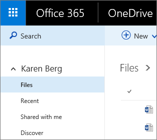 Petikan skrin pandangan fail dalam OneDrive for Business