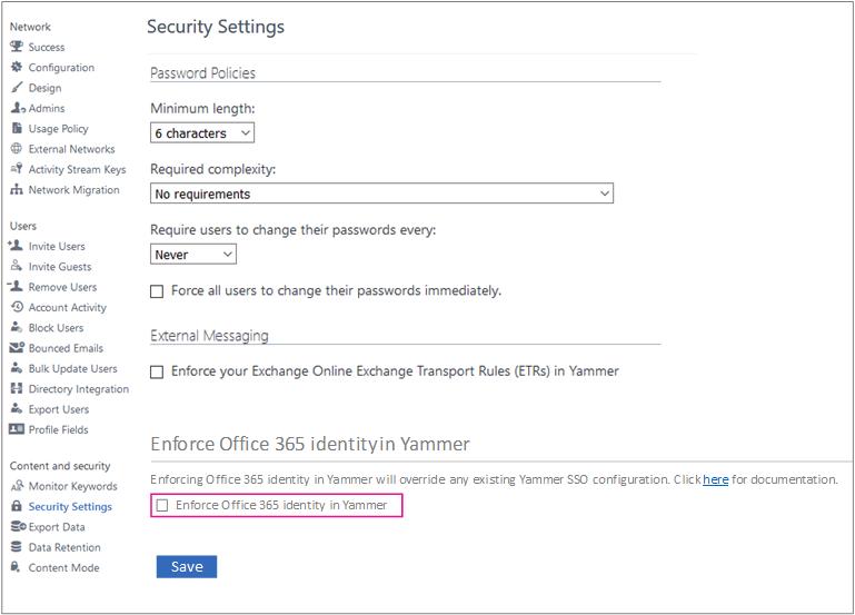 Petikan skrin yang menunjukkan identiti Enfore Office 365 dalam kotak semak Yammer dalam halaman Seting Keselamatan Yammer. Anda mesti merupakan pentadbir yang sah dalam Yammer dan pentadbir global Office 365 untuk melihat seting ini.