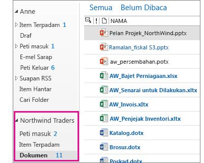 Peti mel laman dalam Outlook