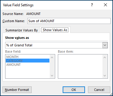 Seting medan nilai Jadual pangsi > Tunjukkan nilai sebagai dialog