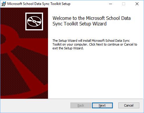 Klik berikut pada halaman selamat datang persediaan kit penyegerakan Microsoft sekolah Data