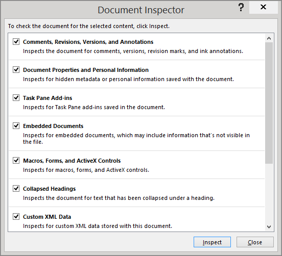 Opsyen dalam kotak dialog Pemeriksa Dokumen ditunjukkan