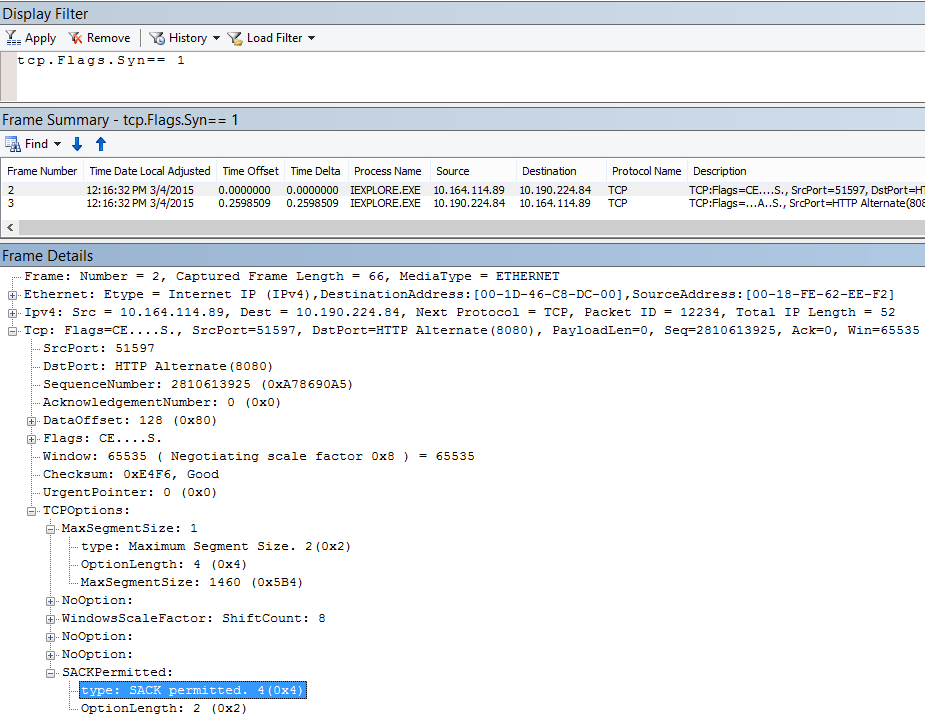 Selective Acknowledgment (SACK) dalam Netmon yang dihasilkan tcp.flags.syn == 1.