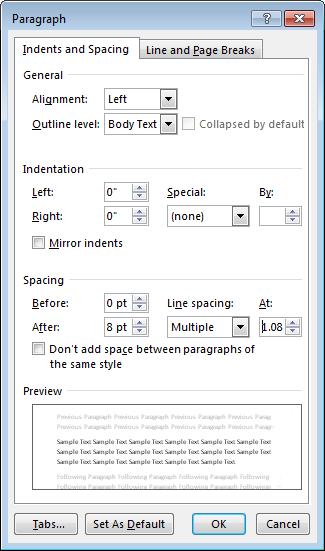 Petikan skrin kotak dialog perenggan dalam Word, menunjukkan Inden dan jarak tab.