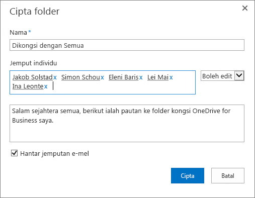 Kotak dialog untuk menyenaraikan alamat e-mel individu yang anda ingin kongsi folder OneDrive for Business anda.
