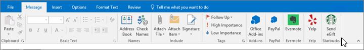 Petikan skrin reben Outlook dengan fokus pada tab mesej tempat kursor menuding ke tambahan di bahagian hujung kiri. Dalam contoh ini, tambahan adalah tambahan Office, PayPal, Evernote, Yelp dan Starbucks.