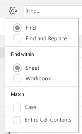 Menunjukkan yang mencari, Cari dan ganti, helaian, buku kerja, huruf dan seluruh kandungan sel opsyen mencari dalam Excel for Android.