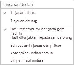 Petikan skrin tindakan undian