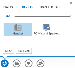 Petikan skrin kawalan panggilan audio