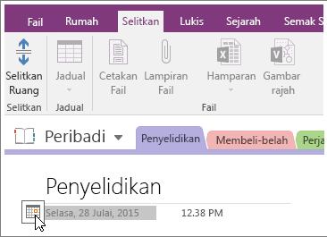 Petikan skrin tentang cara untuk mengubah cap tarikh halaman dalam OneNote 2016.