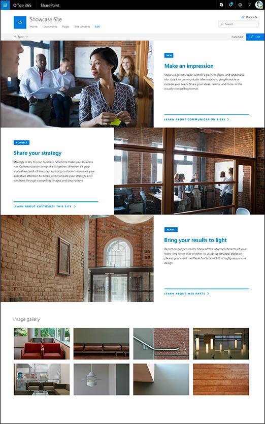 Reka bentuk showcase SharePoint komunikasi Laman