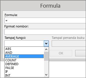 Fungsi tampal formula ditunjukkan daripada tab Tataletak Alat Jadual.