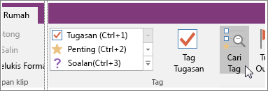 Petikan skrin butang Cari Tag dalam OneNote 2016