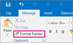 Menunjukkan butang Pelukis Format dalam mesej baru dalam Outlook