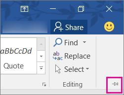 Di bahagian kanan atas skrin anda, pilih pin untuk mengepin reben anda ke halaman anda agar ia kekal di sana.