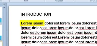 Tiruan serlahan teks dengan kotak teks diisikan warna