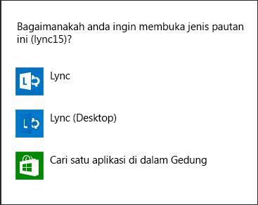 Petikan skrin pemberitahuan Lync untuk memilih program