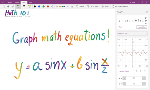 Persamaan matematik graf dalam OneNote for Windows 10