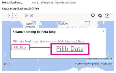 Memilih Data untuk aplikasi Peta Bing untuk Office dalam aplikasi Access