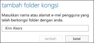 Kotak dialog Tambah folder kongsi Outlook Web App