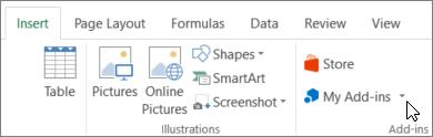 Petikan skrin Seksyen tab selitkan pada reben Excel dengan kursor yang menuding ke saya tambahan. Pilih saya tambahan untuk mencapai tambahan untuk Excel.