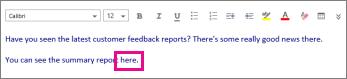 Petikan skrin menunjukkan serlahan perkataan yang akan diformatkan.